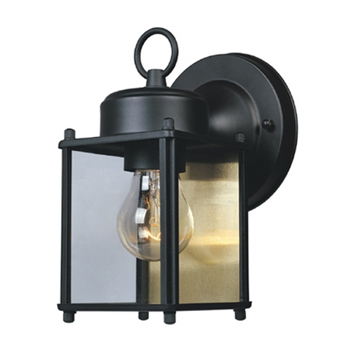 Designers Fountain Lighting Outdoor Wall Light with Clear Glass in Black Finish 1161-BK