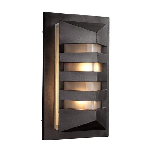 PLC Lighting Modern Outdoor Wall Light with White Glass in Bronze Finish 16611 BZ