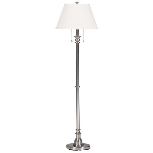 Kenroy Home Lighting Floor Lamp with Beige / Cream Shade in Brushed Steel Finish 30438BS
