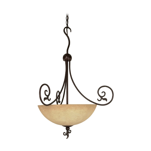 Nuvo Lighting Pendant Light with Beige / Cream Glass in Old Bronze Finish 60/050