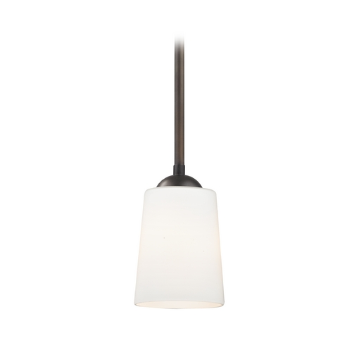 Design Classics Lighting Bronze Mini-Pendant Light with Satin White Glass 581-220 GL1027