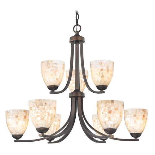 Design Classics Lighting Chandelier with Mosaic Glass in Neuvelle Bronze Finish 586-220 GL1026MB