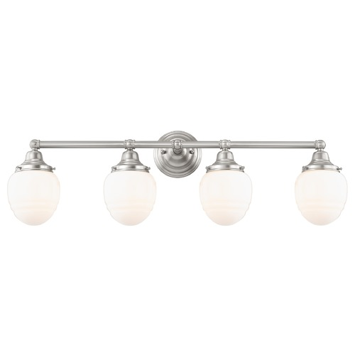 Design Classics Lighting Schoolhouse Bathroom Light Satin Nickel White Opal Glass 4 Light 30.125 Inch Length WC4-09 GG5