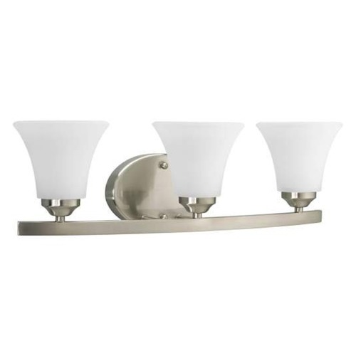 Progress Lighting Progress Bathroom Light with White Glass in Brushed Nickel Finish P2010-09