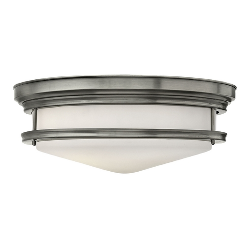 Hinkley Lighting Flushmount Light with White Glass in Antique Nickel Finish 3304AN