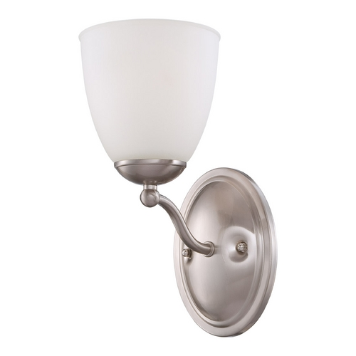 Nuvo Lighting Sconce Wall Light with White Glass in Brushed Nickel Finish 60/5031