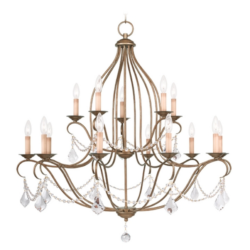 Livex Lighting Livex Lighting Chesterfield Antique Gold Leaf Crystal Chandelier 6429-48