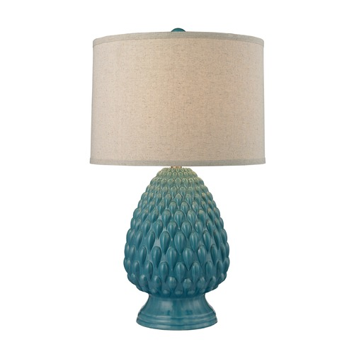 Dimond Lighting Dimond Lighting Deep Seafoam Glaze Table Lamp with Drum Shade D2620