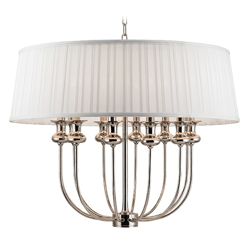 Hudson Valley Lighting Pembroke 12 Light Pendant Light Drum Shade - Polished Nickel 5412-PN