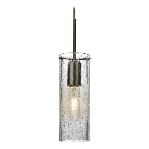 Besa Lighting Besa Lighting Juni Bronze Mini-Pendant Light with Cylindrical Shade 1JT-JUNI10CL-BR