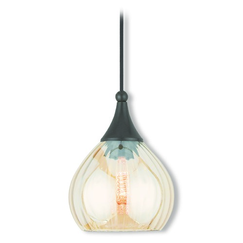 Livex Lighting Livex Lighting Art Glass Mini Pendant English Bronze Mini-Pendant Light with Bowl / Dome Shade 40615-92