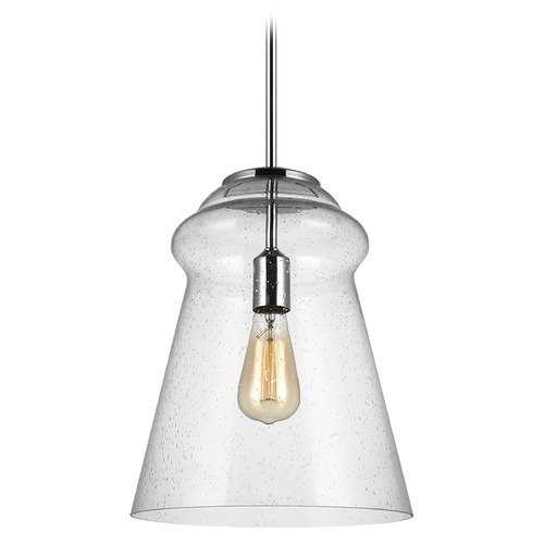 Feiss Lighting Feiss Lighting Loras Chrome Pendant Light with Conical Shade P1459CH