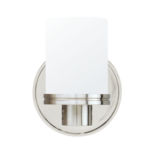 Hudson Valley Lighting Modern Sconce with White Glass in Satin Nickel Finish 2051-SN