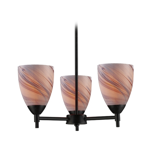 Elk Lighting Mini-Chandelier with Art Glass in Dark Rust Finish 10154/3DR-CR