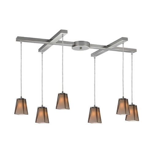 Elk Lighting Modern Multi-Light Pendant with Amber Glass in Satin Nickel Finish 31143/6