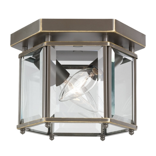 Sea Gull Lighting Flushmount Light with Clear Glass in Heirloom Bronze Finish 7647-782