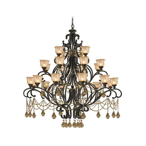 Crystorama Lighting Crystal Chandelier with Amber Glass in Bronze Umber Finish 7518-BU-GT-MWP
