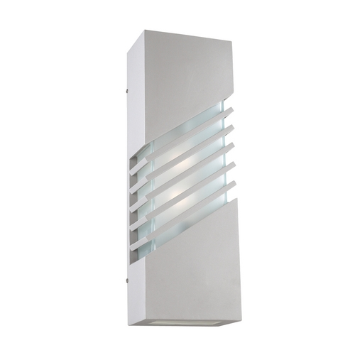 PLC Lighting Modern Outdoor Wall Light with White Glass in Silver Finish 16608 SL