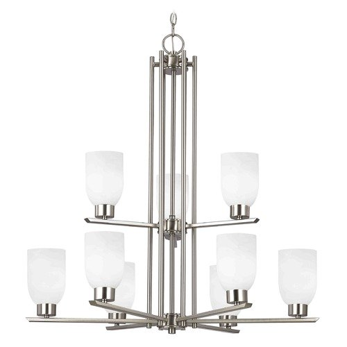 Design Classics Lighting Chandelier with White Glass in Satin Nickel - 9-Lights 1122-1-09 GL1028D