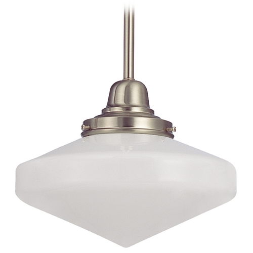 Design Classics Lighting 10-Inch Schoolhouse Mini-Pendant Light in Satin Nickel FB4-09 / GE10