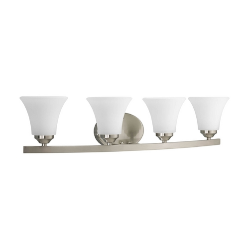 Progress Lighting Progress Bathroom Light with White Glass in Brushed Nickel Finish P2011-09