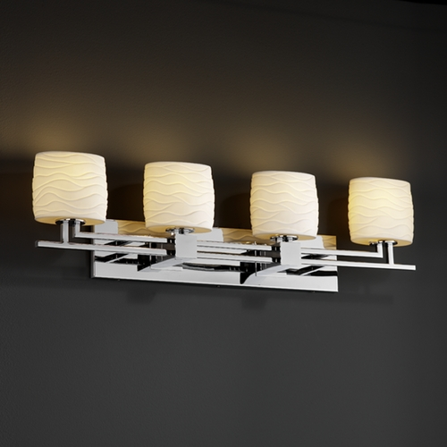 Justice Design Group Justice Design Group Limoges Collection Bathroom Light POR-8704-30-WAVE-CROM