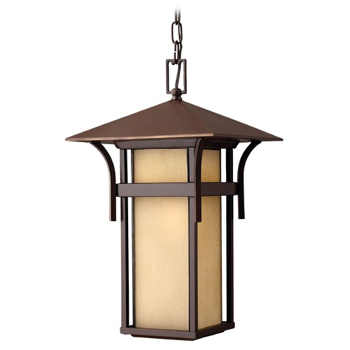 Hinkley Lighting Etched Amber Seeded Glass Outdoor Pendant Light Bronze Hinkley Lighting 2572AR