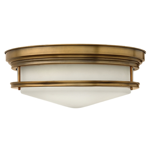 Hinkley Lighting Flushmount Light with White Glass in Brushed Bronze Finish 3304BR