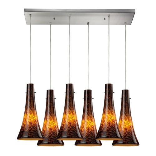 Elk Lighting Modern Multi-Light Pendant Light with Brown Glass and 6-Lights 140-6RC-ES