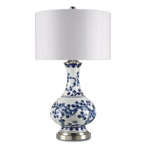 Currey and Company Lighting Currey and Company Lighting Off White with Blue / Satin Nickel Table Lamp with Drum Shade 6287