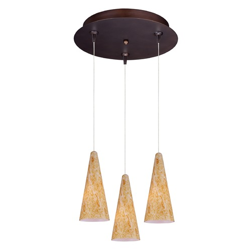 ET2 Lighting Minx Bronze Multi-Light Pendant with Conical Shade E94630-103BZ