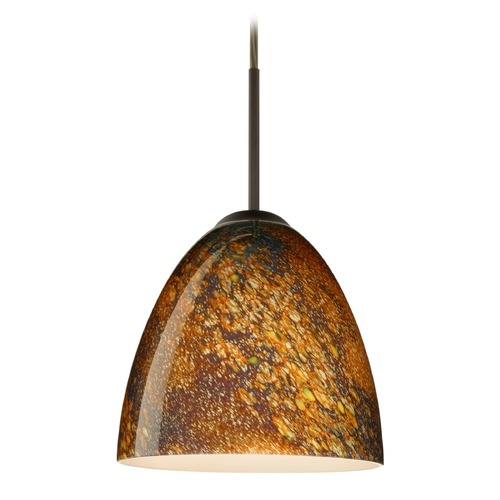 Besa Lighting Besa Lighting Vila Bronze LED Mini-Pendant Light with Bell Shade 1JT-4470CE-LED-BR