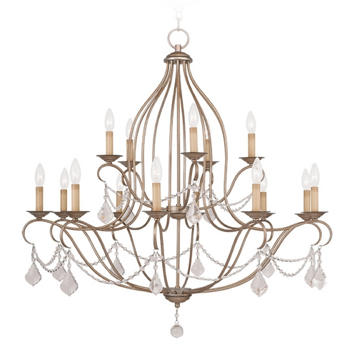 Livex Lighting Livex Lighting Chesterfield Antique Silver Leaf Crystal Chandelier 6429-73