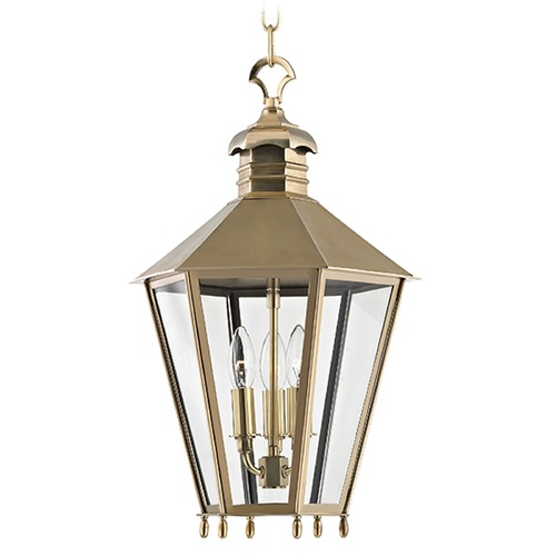 Hudson Valley Lighting Barstow 3 Light Pendant Light Hexagon Shade - Aged Brass 8813-AGB