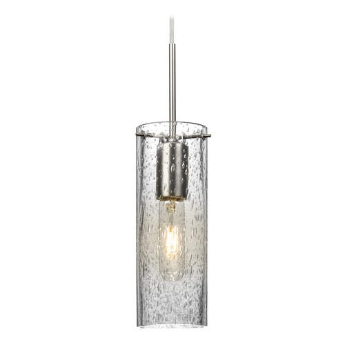 Besa Lighting Besa Lighting Juni Satin Nickel Mini-Pendant Light with Cylindrical Shade 1JT-JUNI10CL-SN