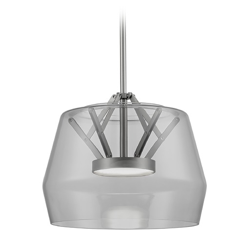 Kuzco Lighting Art Deco Brushed Nickel LED Pendant with Smoked Shade 3000K 744LM PD61412-SM/BN