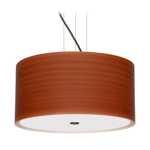 Besa Lighting Modern Pendant Light with Brown Glass in Bronze Finish 1KV-4008CH-BR