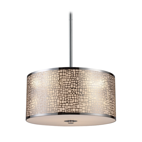 Elk Lighting Modern Drum Pendant Light with White Glass in Polished Stainless Steel Finish 31042/3