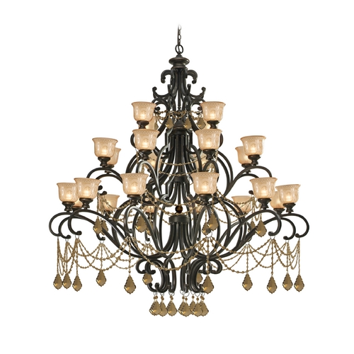 Crystorama Lighting Crystal Chandelier with Amber Glass in Bronze Umber Finish 7518-BU-GTS