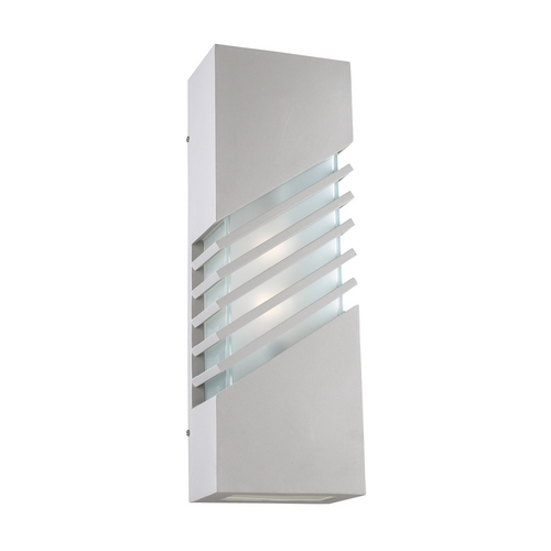 PLC Lighting Modern Outdoor Wall Light with White Glass in Bronze Finish 16608 BZ