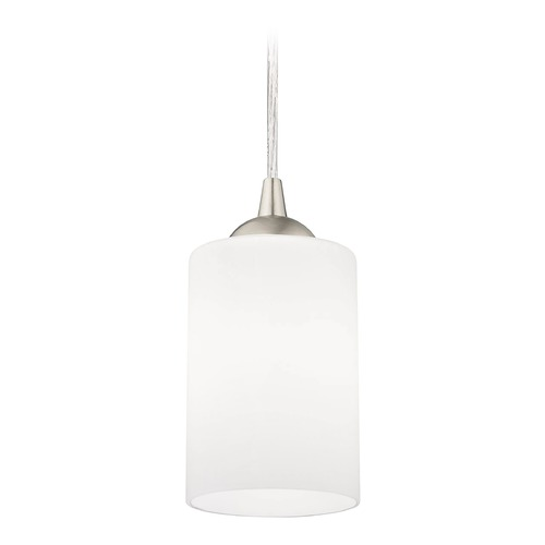 Design Classics Lighting Modern Mini-Pendant Light with White Cylinder Glass 582-09 GL1028C