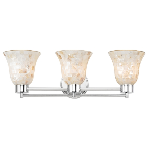 Design Classics Lighting Bathroom Light with Mosaic Glass in Chrome Finish 703-26 GL9222-M