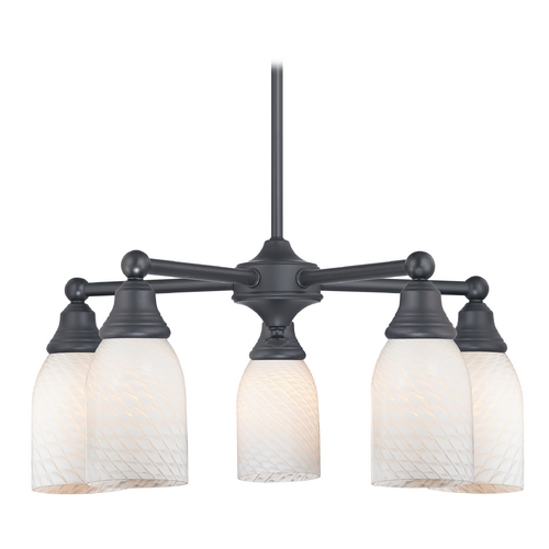 Design Classics Lighting Chandelier with White Glass in Matte Black Finish 597-07 GL1020D