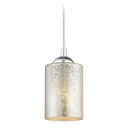 Design Classics Lighting Design Classics Gala Fuse Chrome LED Mini-Pendant Light with Cylindrical Shade 682-26 GL1039C