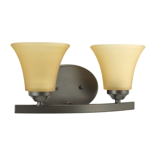 Progress Lighting Progress Bathroom Light with Brown Glass in Antique Bronze Finish P2009-20
