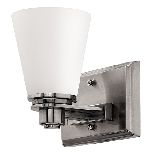 Hinkley Lighting Sconce with White Glass in Brushed Nickel Finish 5550BN
