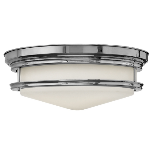Hinkley Lighting Flushmount Light with White Glass in Chrome Finish 3304CM