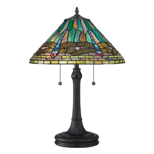 Quoizel Lighting Table Lamp with Multi-Color Glass in Vintage Bronze Finish TF1508TVB
