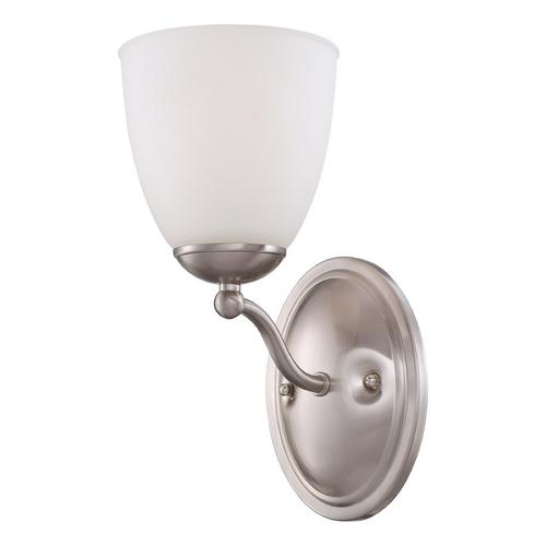 Nuvo Lighting Sconce with White Glass in Brushed Nickel Finish 60/5051