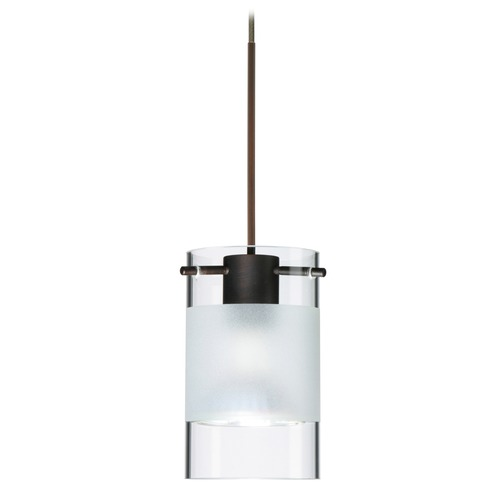 Besa Lighting Besa Lighting Scope Bronze Mini-Pendant Light with Cylindrical Shade 1XT-6524EC-BR